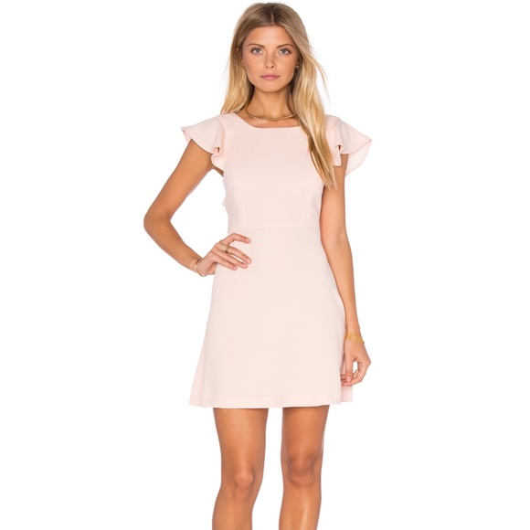 6241e5492de BCBG Ruffle Open Back Dress Blush Powder